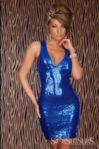 Rochii de seara online Glam Queen Blue cu paiete