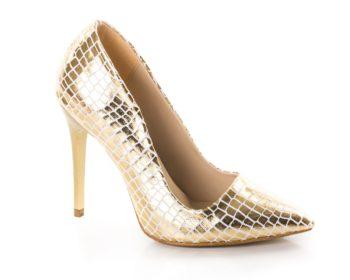 Pantofi dama Cersei Stiletto aurii croco